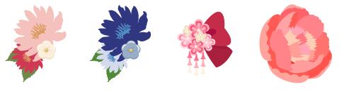 和風髪飾り 赤花、和風髪飾り 青花、和風髪飾り 小花 紅、髪飾り しゃくやく