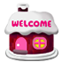 ウェルカム板 雪の家 ピンク