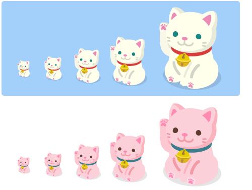 招き猫白[プチ・ミニ・小・中・大]・招き猫ピンク[プチ・ミニ・小・中・大]