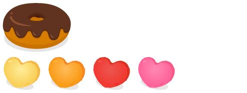 ドーナツクッションチョコ・ハートクッション黄・ハートクッションオレンジ・ハートクッション赤・ハートクッションピンク