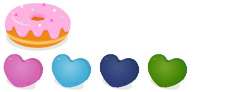 ドーナツクッション苺・ハートクッション紫・ハートクッション水色・ハートクッション紺・ハートクッション緑