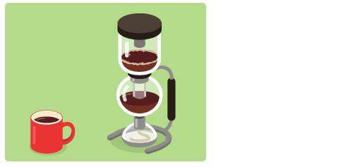 マグカップ赤・コーヒーサイフォン黒