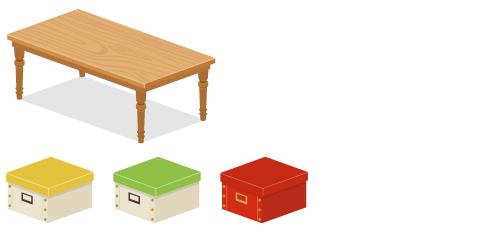 パイン材テーブル長薄茶・ストックボックス黄・ストックボックス黄緑・ストックボックス赤