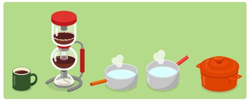マグカップ緑・コーヒーサイフォン赤・ミルクパンオレンジ・ミルクパン赤背・ほうろう鍋オレンジ