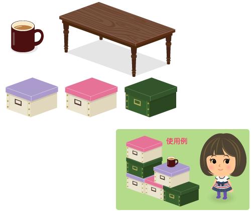 マグカップ茶・パイン材テーブル長濃茶・ストックボックス紫・ストックボックス桃・ストックボックス緑