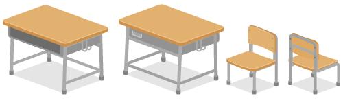 教室机・教室机背・教室イス・教室イス背