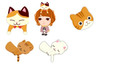 頭のせ三毛猫、猫のお面、猫マフラー各色