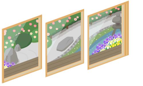 春の庭が見える窓1・春の庭が見える窓2・春の庭が見える窓3