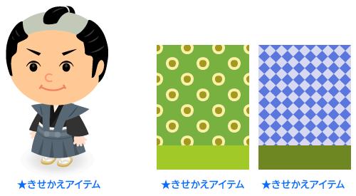 かみしもセット・背景:水玉ダブル山葵・背景:市松花菖蒲