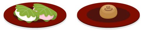 紅白柏もち・温泉まんじゅう皿