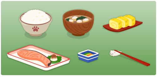 ご飯茶碗猫の手・みそ汁椀・だし巻卵・焼き鮭・香の物小鉢・猫箸置きセット
