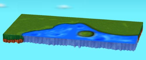 左側:水辺のあるシートB  右側:水辺のあるシートD