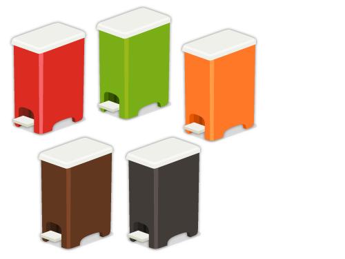 ダストボックス赤×白・ダストボックス緑×白・ダストボックス橙×白・ダストボックス茶×白・ダストボックス黒×白
