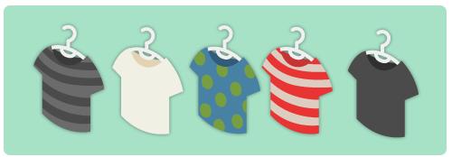 Tシャツハンガー黒縞・Tシャツハンガー白・Tシャツハンガー水玉・Tシャツハンガー赤縞・Tシャツハンガー黒