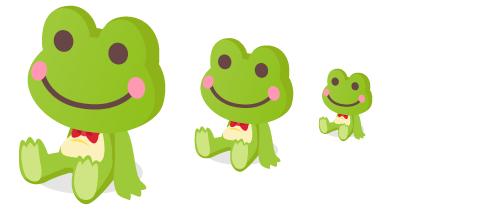 カエルぬいぐるみ緑大・カエルぬいぐるみ緑中・カエルぬいぐるみ緑小