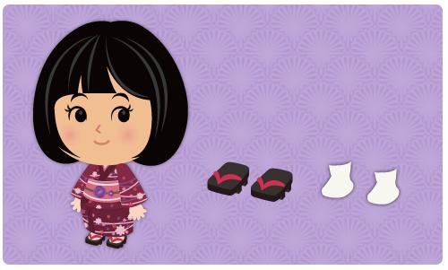 浴衣 赤紫・女性用下駄・足袋 白