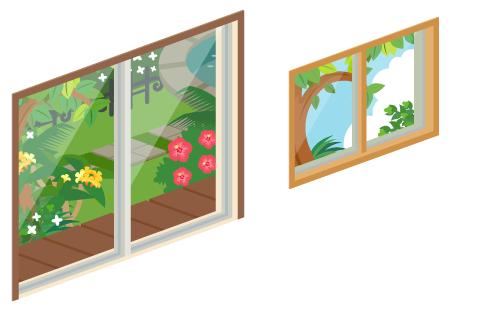 夏の庭が見える掃出窓・夏の庭が見える小窓