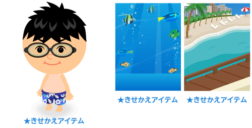 水着 サーフパンツ青・背景:熱帯魚・背景:ビーチの窓辺から