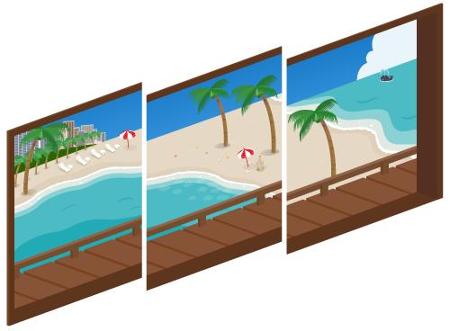 海の見える三連窓1・海の見える三連窓2・海の見える三連窓3