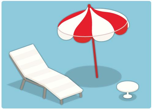 部屋用ビーチパラソル・デッキチェア・ビーチサイドテーブル