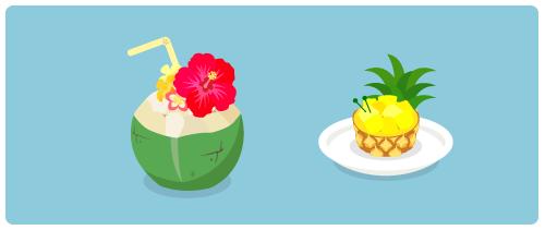 ココナッツドリンク・パイナップルデザート