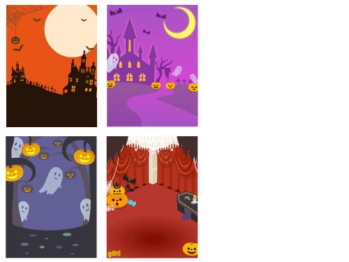 背景:ハロウィンキャッスル、ナイトハロウィン、モンスターハロウィン、舞踏会場