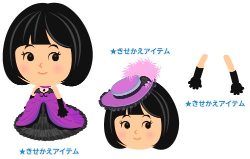 パーティドレス黒紫・羽帽子紫・ロンググローブ黒