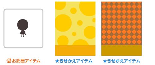 部屋用追加アバター・背景:ランダムドット黄・背景:市松オレンジ