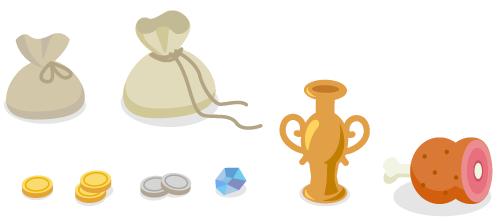 小袋ひも結・小袋ひも解・金貨1枚・金貨2枚・銀貨2枚・海賊の宝石・金の壺・海賊の骨つき肉