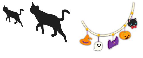 ウォールデコ黒猫大・ウォールデコ黒猫小・ガーランドかぼちゃ色×紫