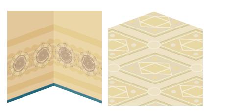 床モザイク模様風・壁紙アラベスク模様