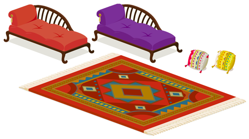 長椅子赤・長椅子紫・刺繍クッション金・刺繍クッション紅・フリンジ付ラグ赤