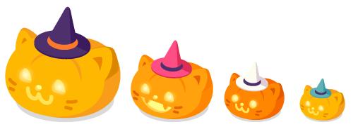 ランタン帽子猫大・ランタン帽子猫中・ランタン帽子猫小・ランタン帽子猫プチ