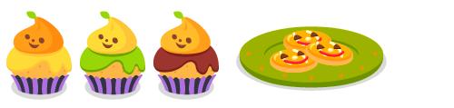 カップケーキカボチャ・カップケーキグリーン・カップケーキチョコ・かぼちゃクッキー皿緑