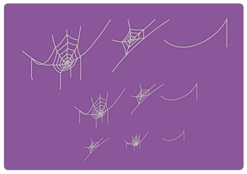 クモの巣七角大・クモの巣五角大・クモの糸大・クモの巣七角中・クモの巣五角中・クモの糸中・クモの巣七角小・クモの巣五角小・クモの糸小