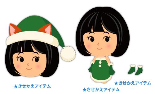 ネコ耳サンタ帽緑・サンタデコルテ緑・サンタヒールボア付緑