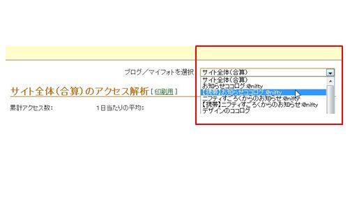 1.現アクセス解析ページに進み、データをダウンロードしたいブログを選択