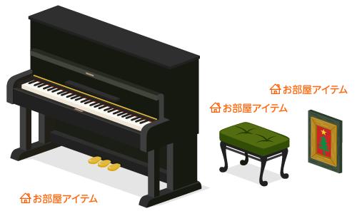 アップライトピアノ・クラシックスツール緑・壁掛フレームスターツリー