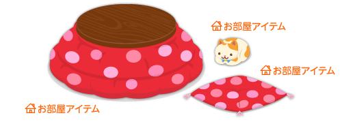 こたつ丸型赤ドット・まんまる猫白茶ぶち・座布団赤ドット