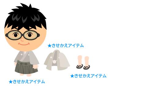 袴セット白灰・羽織白灰・男性用ぞうり 黒