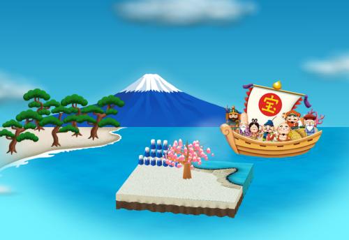 富士山と七福神
