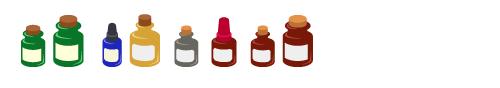 薬瓶緑小・薬瓶緑大・薬瓶藍・薬瓶黄・薬瓶グレー・薬瓶赤蓋・薬瓶茶小・薬瓶茶大