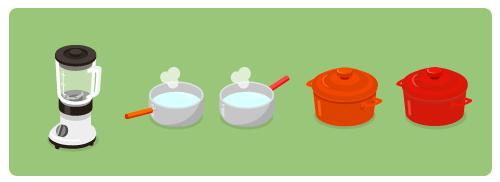 ジュースミキサー・ミルクパンオレンジ・ミルクパン赤背・ほうろう鍋オレンジ・ほうろう鍋赤