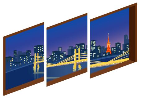 ブリッジの夜景三連窓1・ブリッジの夜景三連窓2・ブリッジの夜景三連窓3