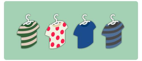 シャツハンガー横縞緑・シャツハンガー半袖ドット・シャツハンガー半袖紺・シャツハンガー横縞青