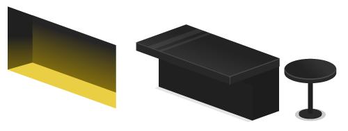 壁ディスプレイ棚・バーカウンター黒マット・バーテーブル黒丸