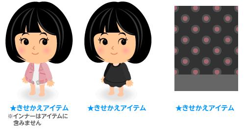 ライダースローズ・Uネックワンピ黒・背景:水玉Wコーラ