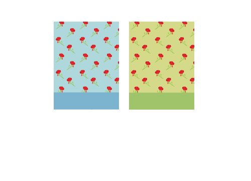 背景:母の日そら色・背景:母の日若草