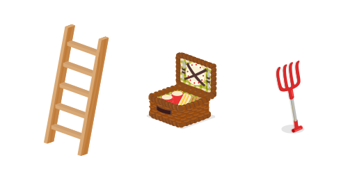 立掛けはしご・ピクニックトランク・立掛けピッチフォーク