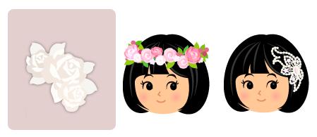 バラの髪飾り 白・花冠ローズピンク・ジュエリーの髪飾り